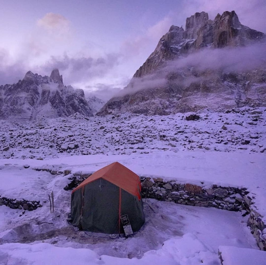 Some glimpses of the ongoing Broad Peak winter expedition shared by Don Bowie  The trio was camping at Khobutse with Uli Biaho and Trango in the background  #BPK2winter #mountains #baltoro #k2 #winterexpedition #beautifulpakistan #glacier