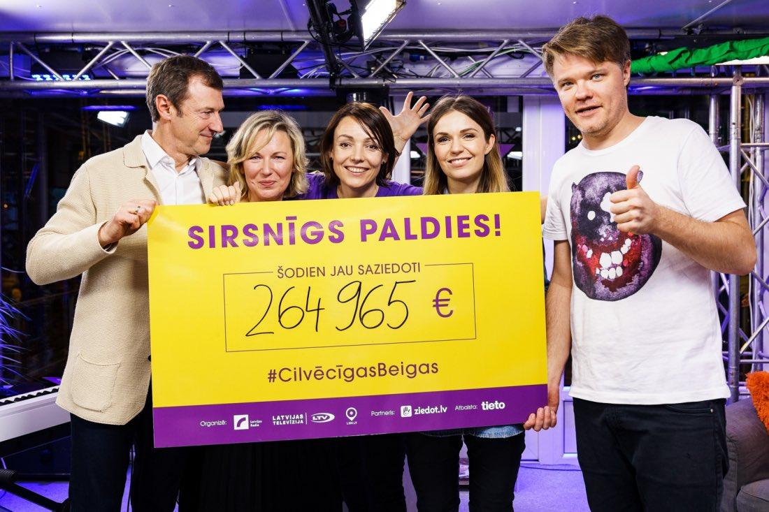 Labdarības maratonā #DodPieci2019 saziedoti jau 264 965 € 🖐🏻🙏🏻