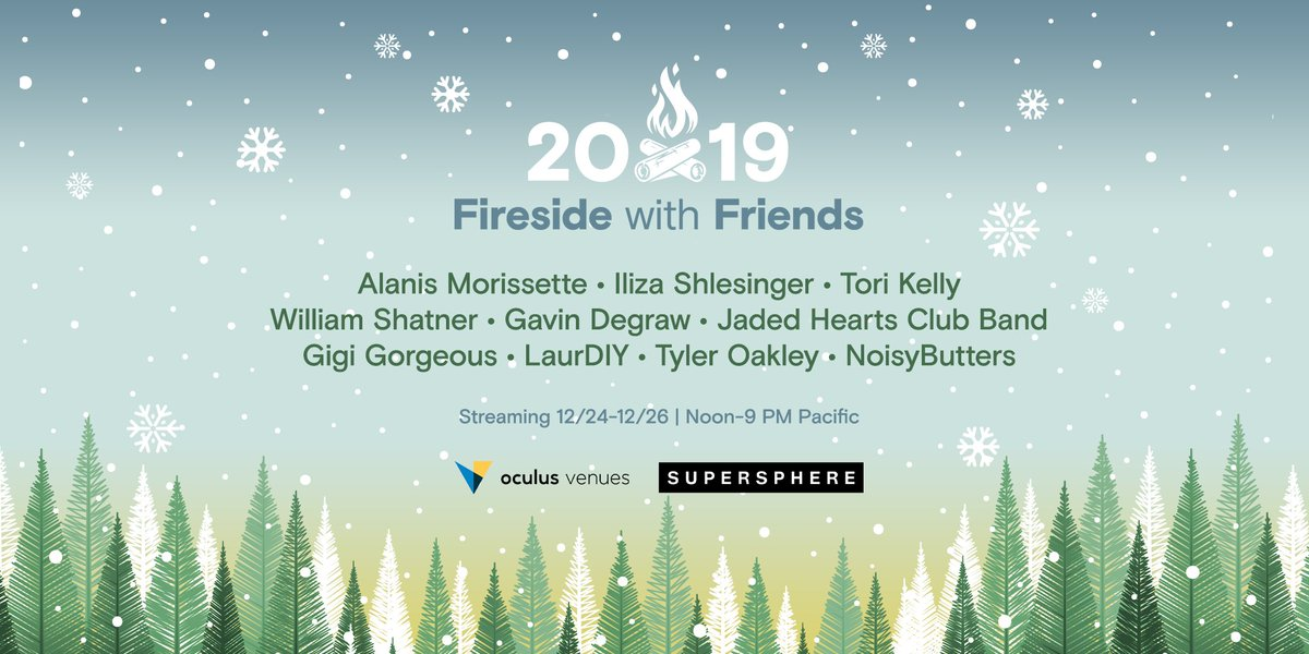Featuring @tyleroakley @laurDIY @torikelly and more, it's the @oculus Venues #FiresideWithFriends holiday show! Grab some nog and a loved one and join the festivities with streams running from 12/24 - 12/26. Get details and tickets at zurl.co/SrAt #VR #OculusVenues