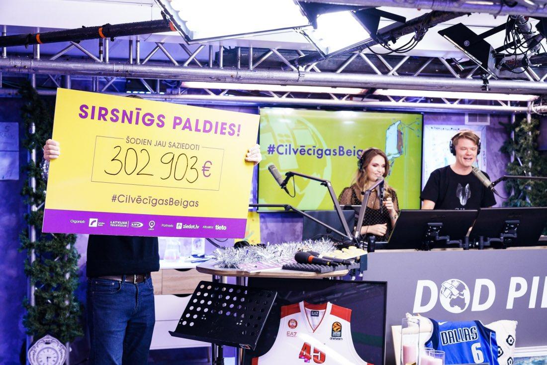 Šodien #DodPieci2019 jau saziedoti 302 903 € ❣️ Liels paldies visiem ziedotājiem! 🖐🏻 #CilvēcīgasBeigas