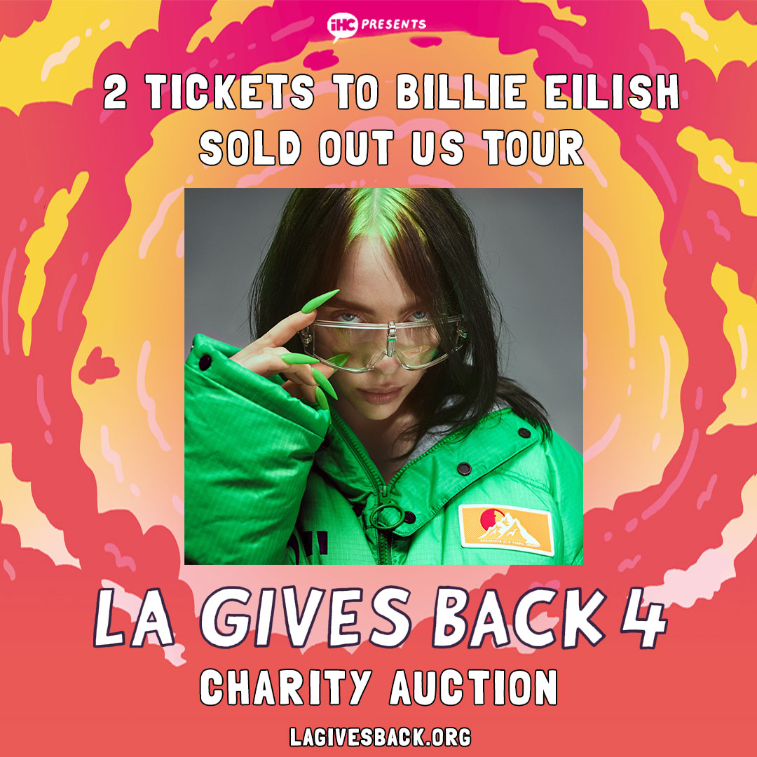 "Last chance to win two tickets to see @BillieEilish on *the date of your choice* on her completely sold out Where Do We Go"" North American Arena Tour. All funds raised go to Los Angeles homeless charities. #LAGIVESBACK bit.ly/lagb4all"
