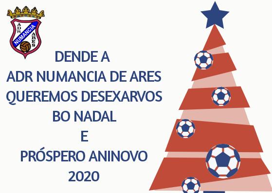 Dende a ADR Numancia de Ares Queremos desexarvos Bo Nadal  e Próspero Aninovo 2020  #ForzaNuman