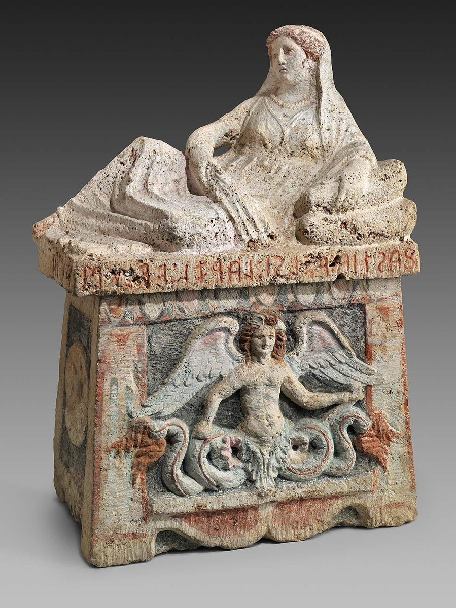 The cinerary urn of Fastia Velsi, wife of Larza Velu, with an Etruscan inscription around the lid reading from right to left, 3rd C BC. Now in Boston MFA  https:// collections.mfa.org/objects/151379     #inscriptionadventcalendar #advent #AdventCalendar2019 <br>http://pic.twitter.com/wPaZrOLZTE