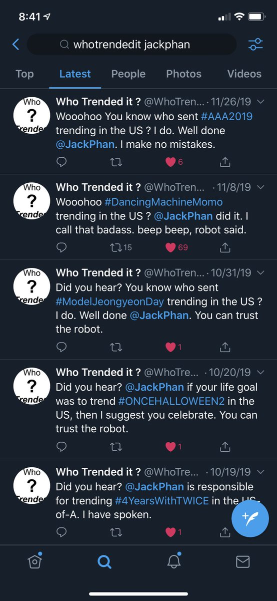 Cool! Hashtags I sent trending in the US for 2019. All #TWICE related 🍭🤟🏽😂. You can hire me now @JYPETWICE 😁  #FeelSpecia_Dahyun #ItGirlNayeon #TWICE_FeelSpecial #4YearsWithTWICE #ONCEHALLOWEEN2 #ModelJeongyeonDay #DancingMachineMomo #AAA2019