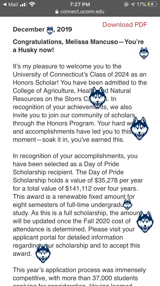 YA GIRL GOT ACCEPTED TO UCONN WITH A FULL SCHOLARSHIP, DAY OF PRIDE SCHOLAR BABYYYY LET'S GOOOO!!! SO BLESSED ❤️😝 https://t.co/BwHsQzFoEX