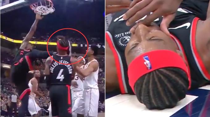 【影片】誤傷!Ibaka灌籃後慣性抬腿,隊友卻因此慘遭「爆頭」,直接倒地不起!-籃球圈