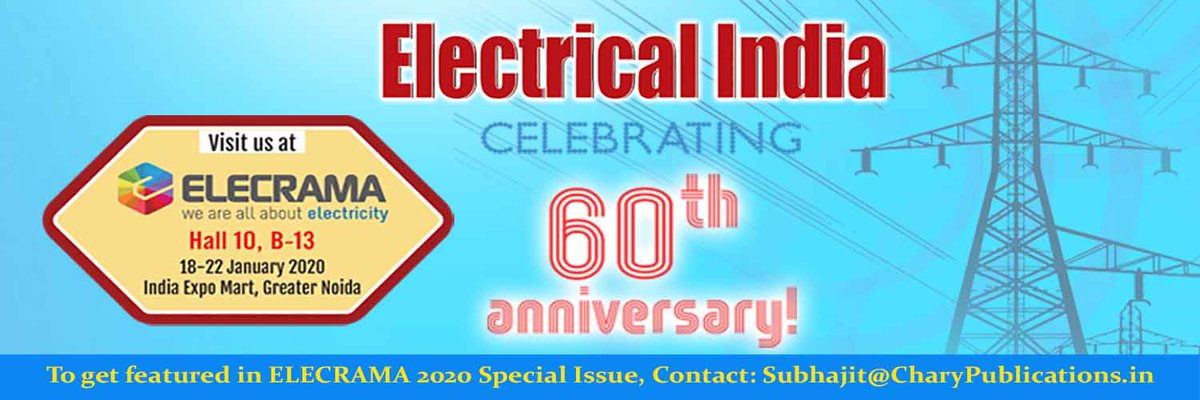 Visit @ElectricalIndia at Hall 10, B-13, India Expo Centre & Mart, Greater Noida from 18th to 22nd January, 2020 during @ElecramaLive  #electricalsector #powersector #elecrama #wiresandcables #transformers #solarenergy #solarpower #transmissionanddistribution #renewablespic.twitter.com/PRVMcaOYKt