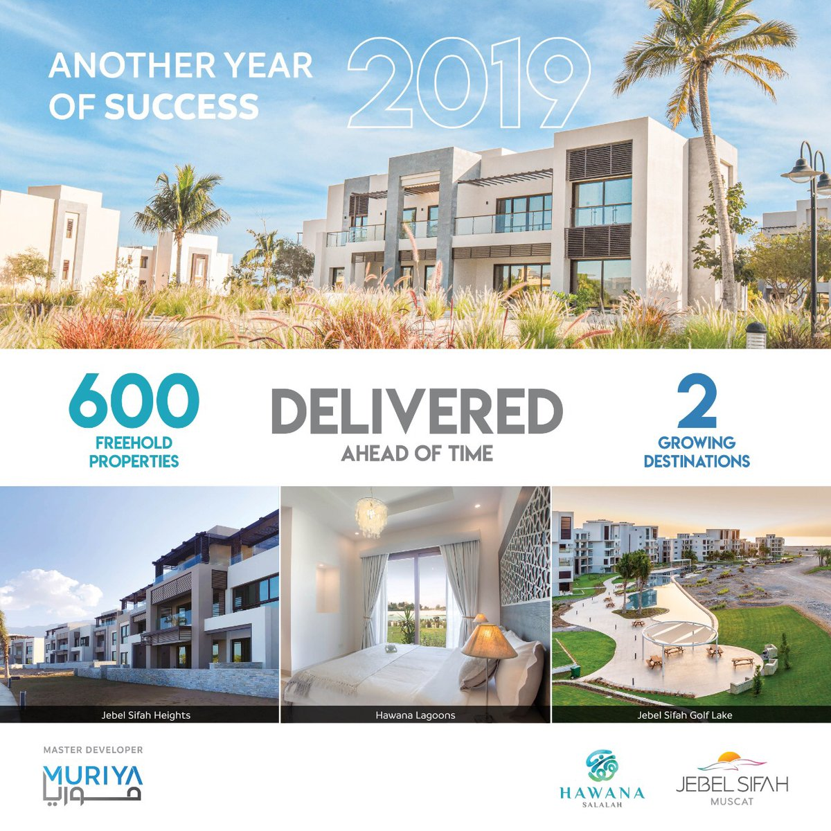 Muriya proudly continues to deliver more than 600 freehold properties since the start of 2019. As we launch more projects at both of our destinations #HawanaSalalah & #JebelSifah, we continually strive to the timely delivery of premium homes. https://t.co/8MgUtkutAz