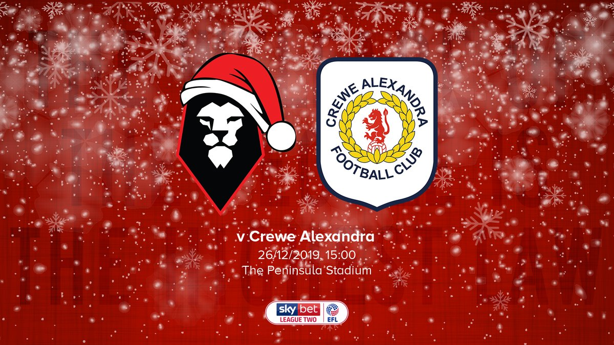 M A T C H D A Y ⚽️  It's our last home game of 2019 and the decade when Crewe Alexandra visit The Peninsula Stadium this afternoon!  🕒 KO 15:00 🏆 @SkyBetLeagueTwo   #WeAreSalford 🦁🔴 https://t.co/LxRd2khmdW