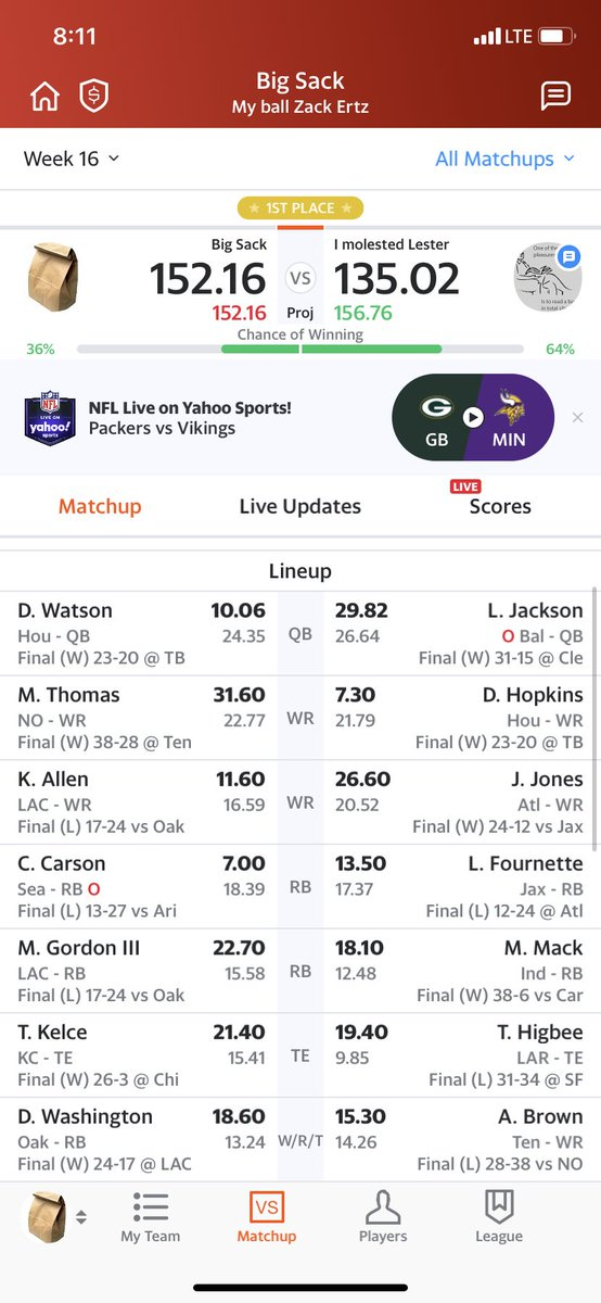 @FantasyPros Opponent had Bailey and switched Diggs out for Boone a half hour before MNF kickoff. Instead of him winning by a little over 1 point, he gave me the championship by just under 9 points. What a Christmas present 🎁 😊🏈🏆#FantasyFootball #MondayNightMiracle