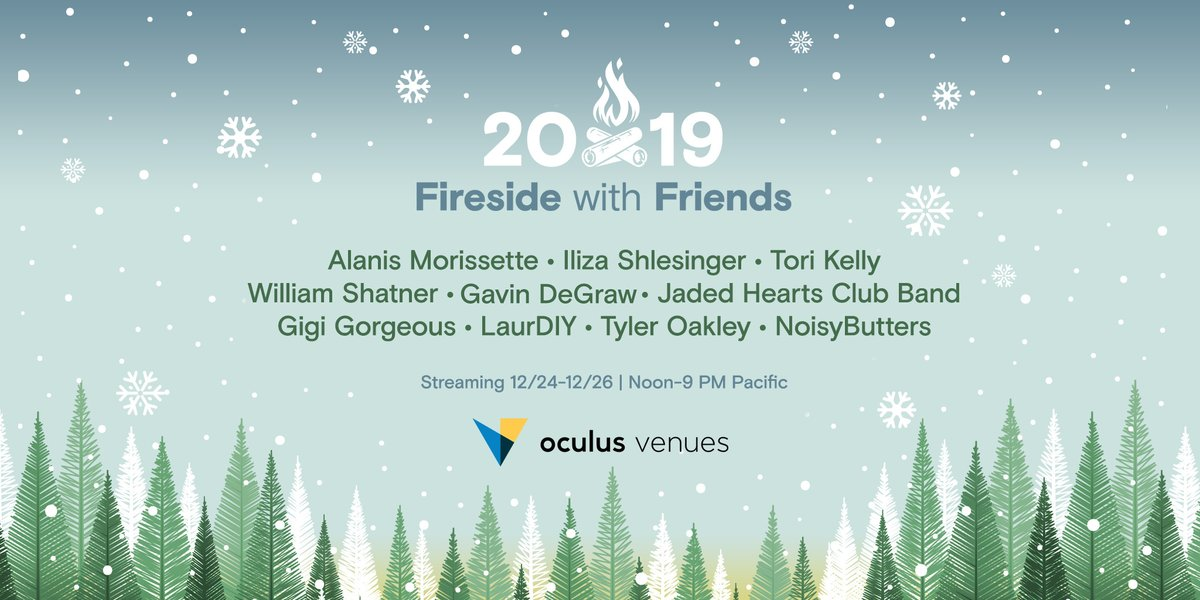 AMSR from @tyleroakley, holiday sweater tips from @laurDIY, a Jagged Little Pill anniversary set from @Alanis , and much more! Tune into the @Oculus Venues #FiresideWithFriends holiday show, starting NOW and running 'till the 26th #VR #OculusVenues zurl.co/v3oi