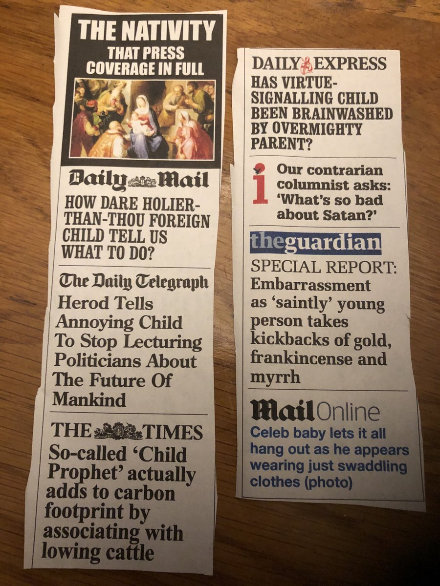 """""""How Dare Holier-Than-Thou Foreign Child Tell Us What To Do"""" - Daily Mail. Wicked take in @PrivateEyeNews on how British papers would've reported the Nativity."""