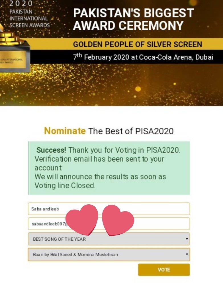 Its Time To Vote And Make Our Favourite @MominaMustehsan  @Bilalsaeedmusic Win❤  Pakistan International Screen Awards 2020 -  Best song of the year #Baari #pisa2020