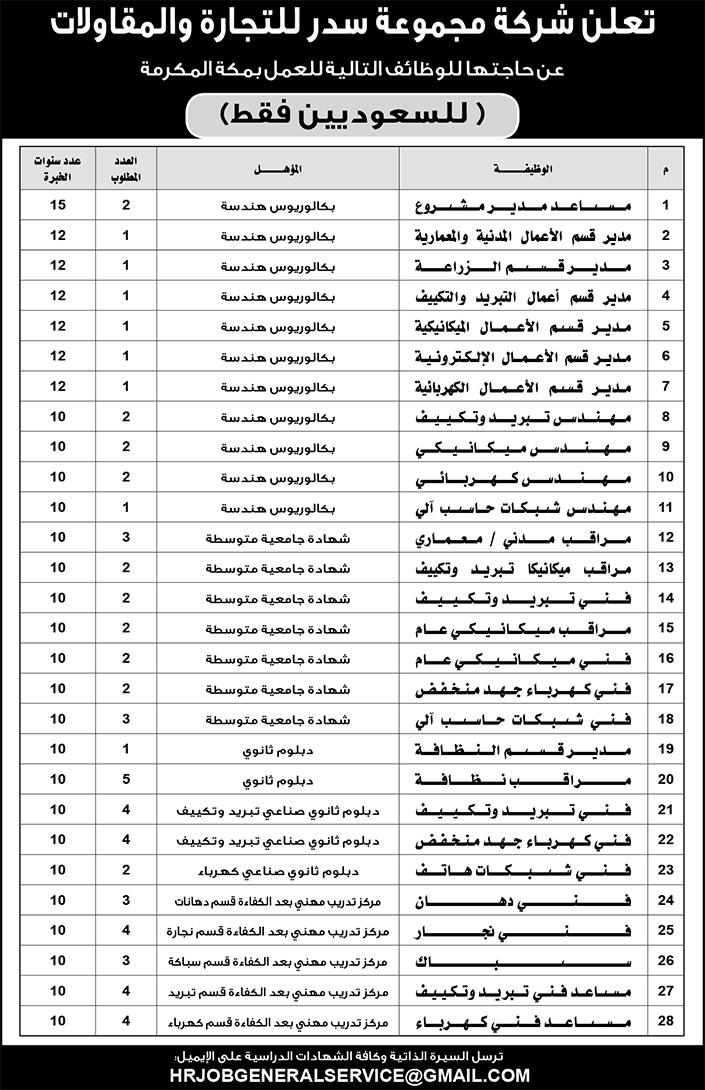 تعلن شركة مجموعة سدر للتجارة والمقاولات عن ٦٥ وظيفة (للسعوديين فقط ) للعمل في #مكة_المكرمة  الايميل  hrjobgeneralservice@gmail.com