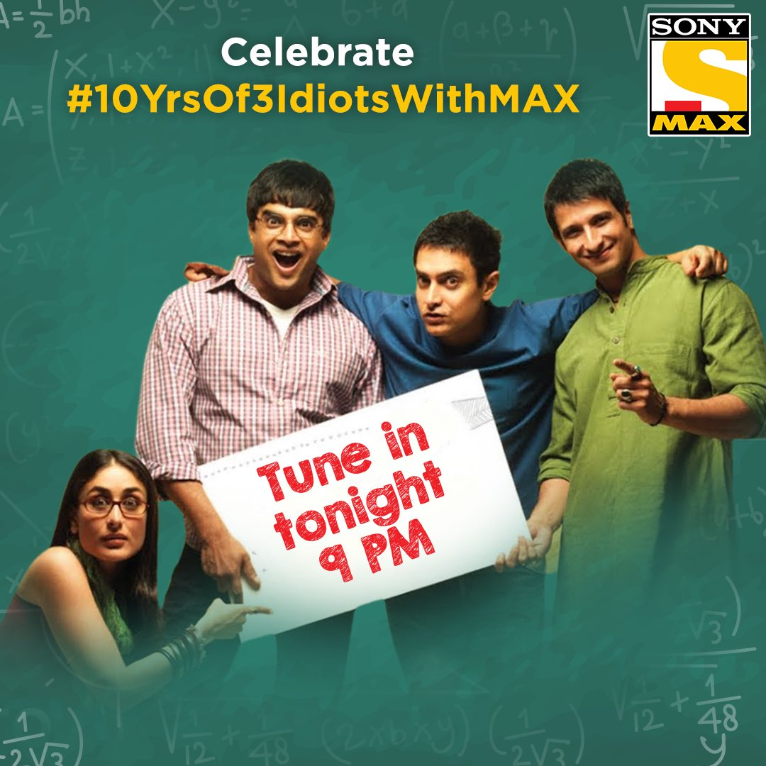 10 years of 3 idiots.A day of memories. Remembering the cast-crew and the lovely time we had making this film. Join me in celebrating the occasion. Tune in to Sony MAX, tonight at 9pm. #10YrsOf3IdiotsWithMax  @aamir_khan @ActorMadhavan @TheSharmanJoshi @bomanirani