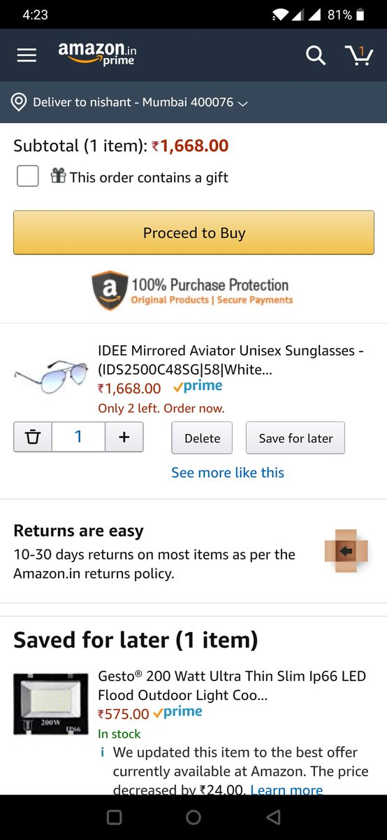 My Wish for this #Christmas2019 from #Santa is to gift me these IDEE Mirrored Aviator Unisex Sunglasses  #GameTheHeistContest #BigAccessoriesHeist #AmazonFashion   Join Guys @yashgandhi66 @kunvaria @Rahulrahs @Sanjiv_34 @ranchikuldeep @blessedkamal @mysterioussu @acidkidrockpic.twitter.com/LXypkmYfNP