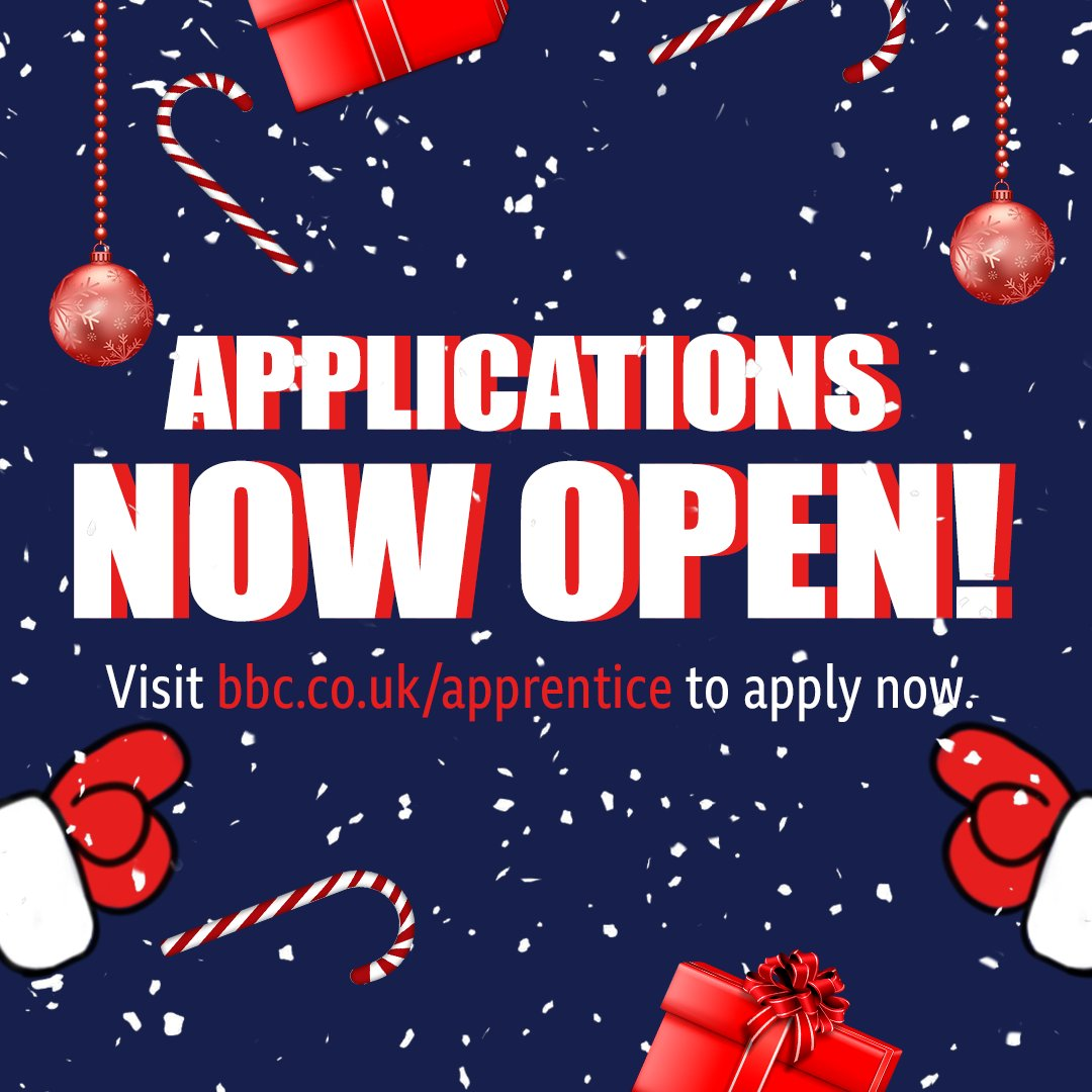Happy Christmas from all of us at #TheApprentice! 🎅🏻 If you fancy a challenge in 2020, apply for the chance to be Lord Sugars next business party right over here.... bbc.co.uk/apprentice