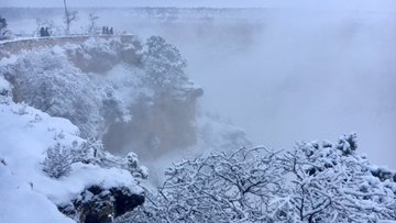 Description: people at a scenic overlook. Snow covers the ground and trees. The landscape is hidden by fog.