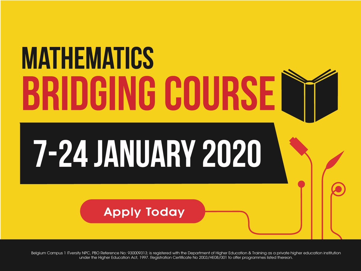 Put your best foot forward in the #newyear. We are offering a 3-week #maths bridging #course for our first year #students.If you didn't get the maths results you wanted or if you would like to do one of our #degree programmes but you did maths literacy, this course is for you.pic.twitter.com/hHpAUZ71sx