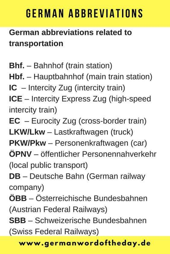 #GermanAbbreviations #AbbreviationsInGerman #Abkürzung #Abkürzungen #Transportation #Transport #Verkehr #GermanVocabulary #Wortschatz #GermanGrammar #LearnGerman #DeutschLernen #Deutsch #Deutschland #LearnANewLanguage #DaF #Germany #German #Language #LanguageLearningpic.twitter.com/V2xveTGODj