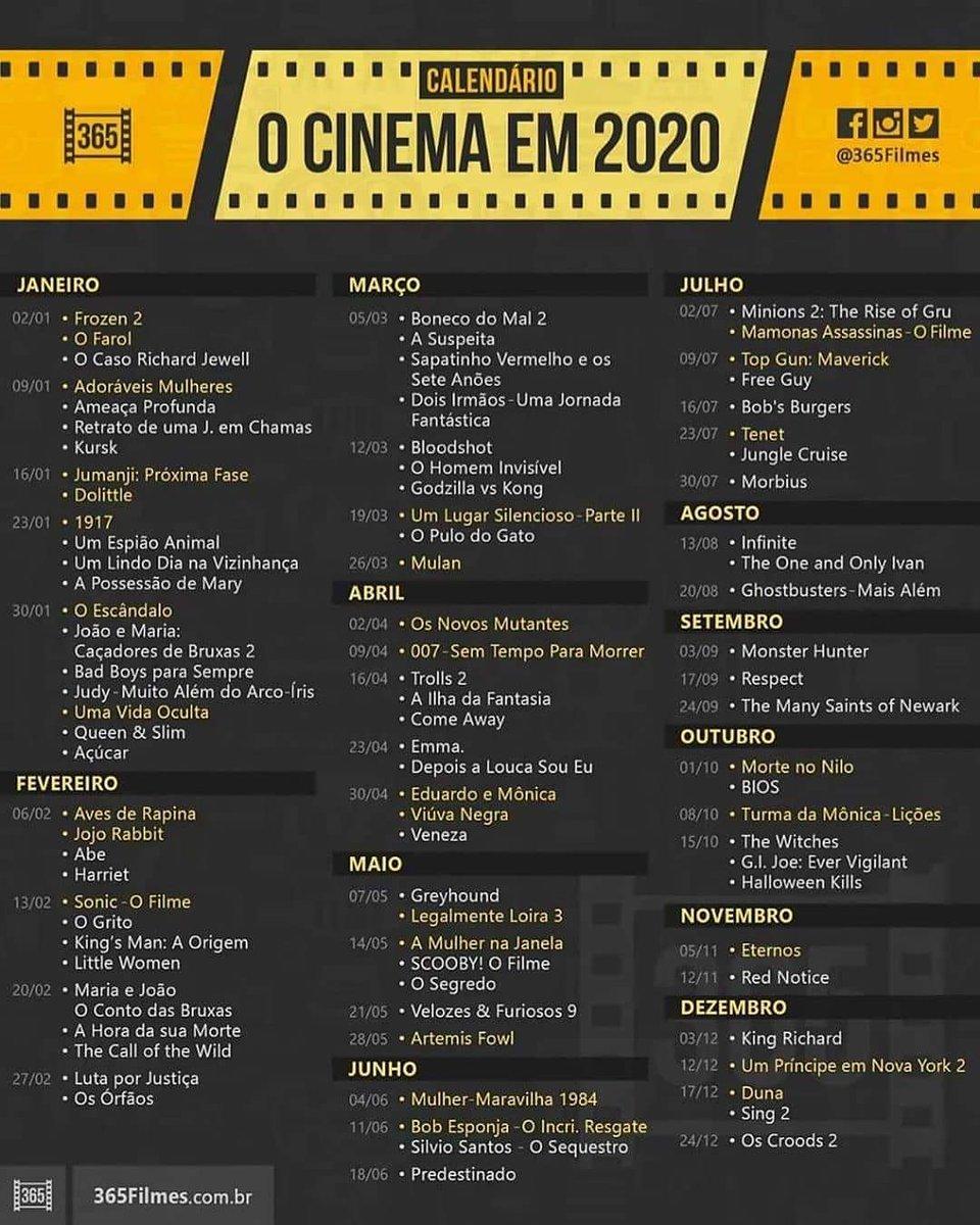 Filmes: Olha Isso! Já tem o calendário com as estreias de 2020. Qual filme ou filmes nessa lista você pretende ver nos cinemas? #portalfama #filmes #filmeseseries #estreias #2020pic.twitter.com/tQTEaS1SlO
