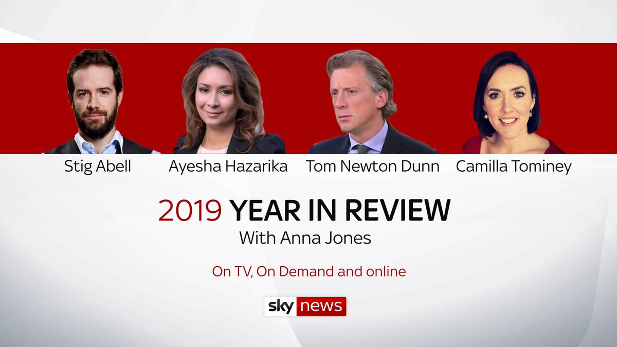 REMINDER: The next two airings of our @SkyNews Year in Review programme (featuring @AnnaJonesSky @StigAbell @CamillaTominey @tnewtondunn and @ayeshahazarika) are today (Thurs) at 2pm and tomorrow (Fri) at 9pm. Or any time on YouTube: youtu.be/3DscdD5Xd5A