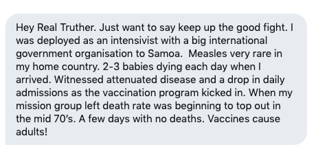 A message I received from someone who traveled to Samoa to fight their measles epidemic.  #samoa #samoameasles <br>http://pic.twitter.com/w3eQuBCGiU