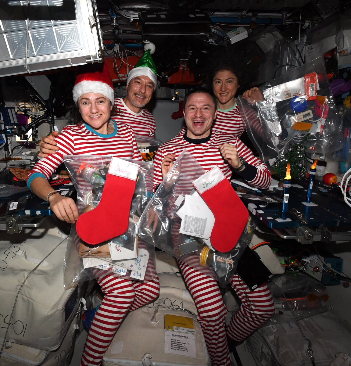 Holiday spirit level is surging on @Space_Station! Seasons greetings to all on our magnificent planet Earth.