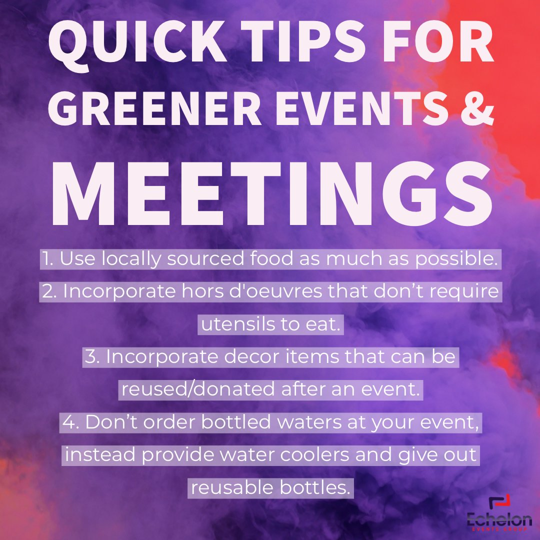 Quick Tips for Greener Events and Meetings. #eventplanner  #events #event #eventplanning #corporateeventplanner  #meetingplanner #meetings #love #eventdesign  #eventmanagement #corporateevents #decor #eventprofs #meetingprofs #tips #greenmeetings #greeneventspic.twitter.com/uNSNALcsJQ