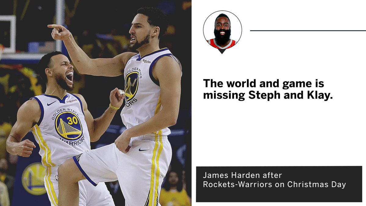 Harden says the league isn't the same without the Splash Bros.