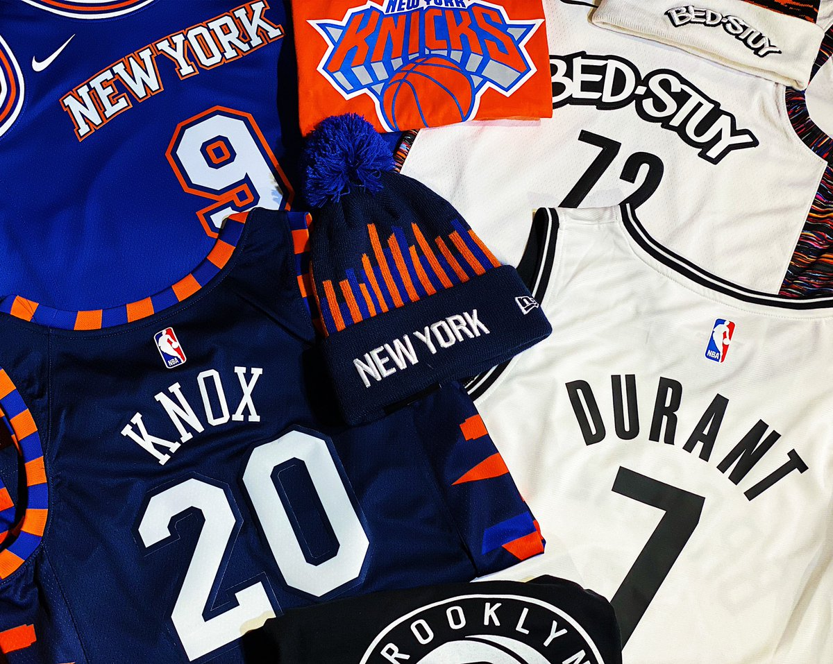 Gear up for tonight's @nyknicks vs.  @BrooklynNets matchup @NBASTORE NYC!