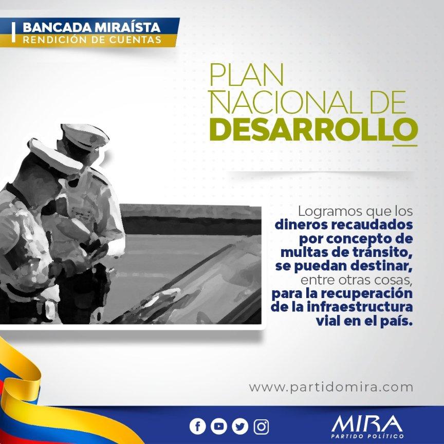 Rendición de cuentas @PartidoMIRA 2019:  Incluimos propuesta en #PND2019, para que recaudo de multas de tránsito sean destinadas a mejorar vías del país. 🛤️ 📈  @carlos_guevara @irmalherrera @AnaPaolaAgudelo @aydeelizarazoc   Más: https://t.co/ONZTrq7Pj4 https://t.co/SpmLGWWpYN