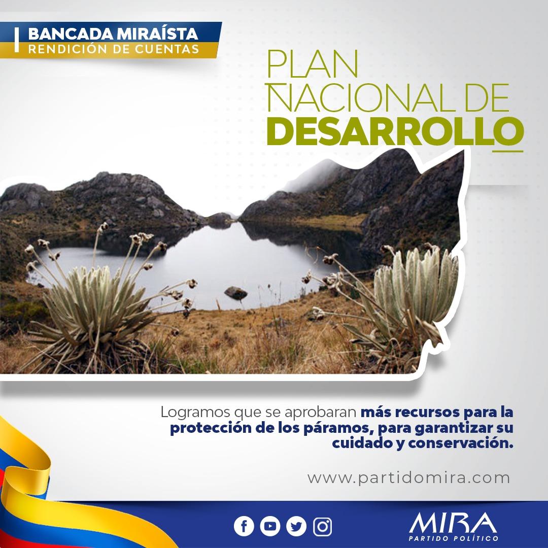 Rendición de cuentas @PartidoMIRA 2019:  En el #PND2019 logramos incluir propuesta de destinar recursos para proteger páramos, riqueza hídrica y ambiental del país.   @carlos_guevara @AnaPaolaAgudelo @aydeelizarazoc @irmalherrera  Más en: https://t.co/ONZTrq7Pj4 https://t.co/D5KuGANfva