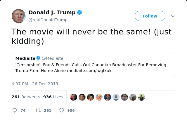 manufactured outrage started with a Trump comment about his Home Alone 2 cameo