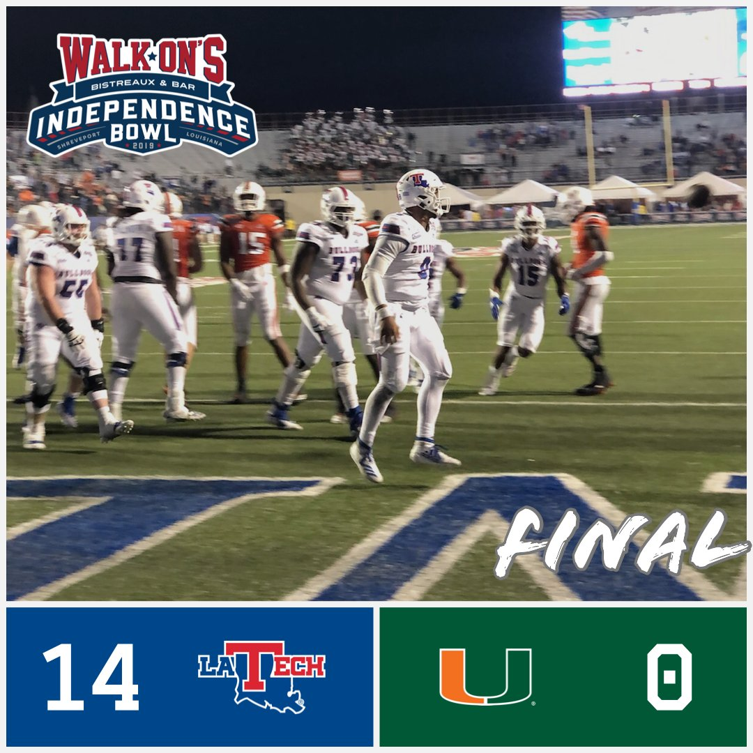 Radiance Technologies Independence Bowl On Twitter Final Score From Shreveport Louisiana Tech Football Is Your 2019 Walk On S Independence Bowl Champs La Tech 1 4 Miami 0 Indybowl Canesfootball Latechfb Walkons