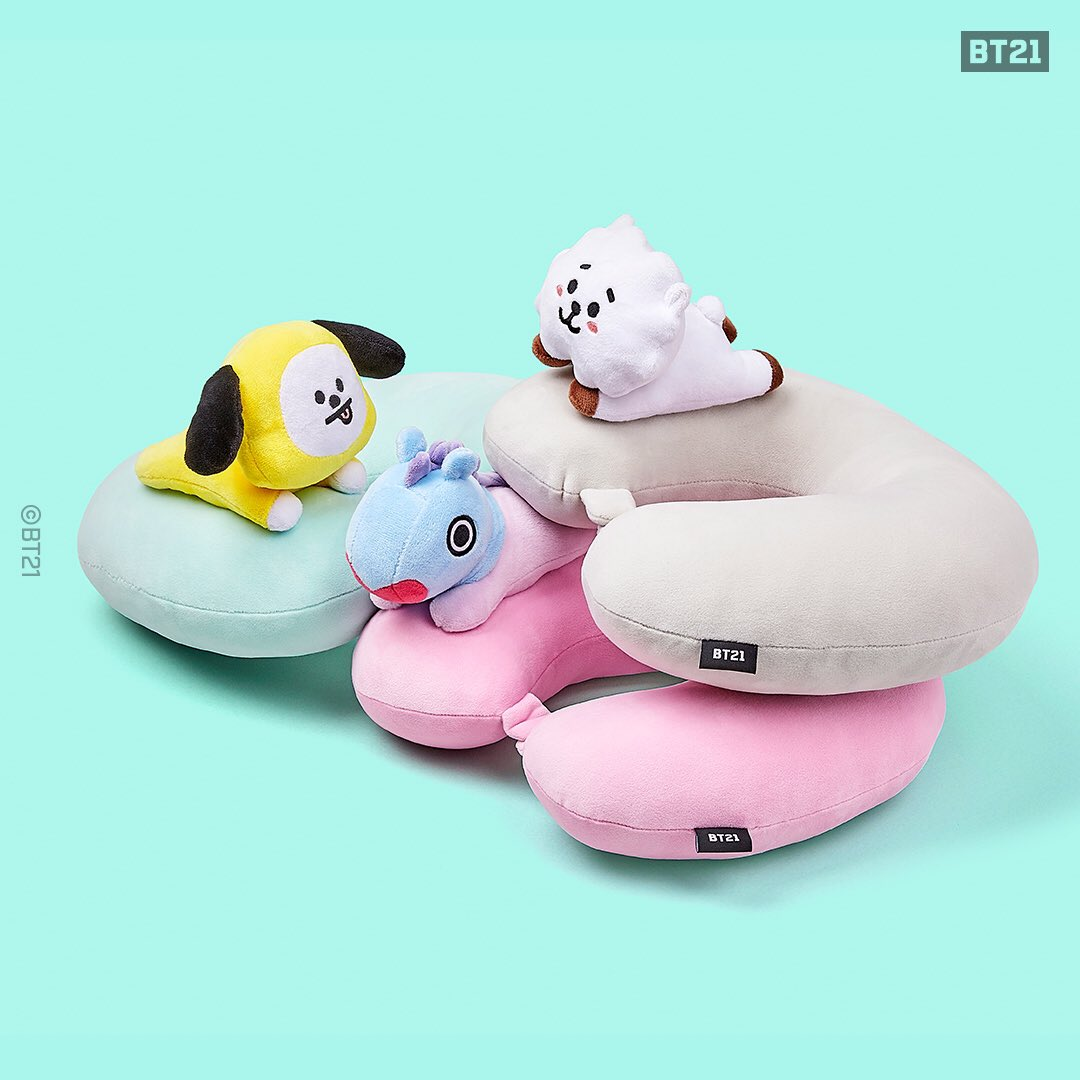 Sit back and relax with #BT21 💤  2019. 12. 29 5PM (PST) dropping at LINE FRIENDS COLLECTION.  For more, visit >    #Sleepyhead #Travelers #MustHave #Neckpillow