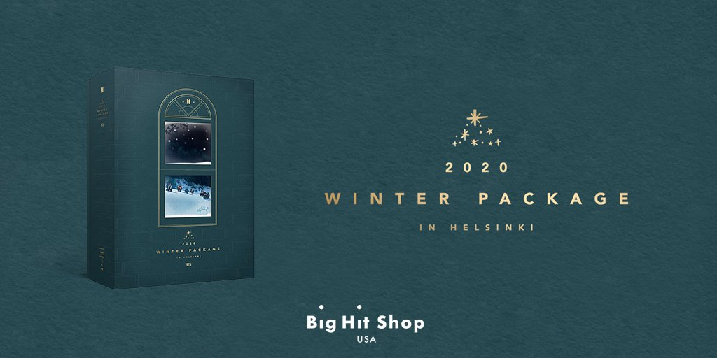 ¡El primer BTS Winter Package! ☃️ Fotos elegantes y videos llenos de diversión de BTS de Helsinki, Finlandia, están aquí para ayudarlo a mantenerse caliente este invierno. ¡Pedid en #BigHitShop USA por envío más baratos y rápido! 👉 bit.ly/bts2020winterp…