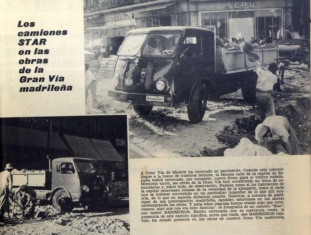 """Fundación Barreiros on Twitter: """"Más #FotosHistóricasBarreiros, son los  camiones STAR con motor Barreiros, recién salidos de fábrica, que fueron  utilizados en las obras de la Gran Vía de Madrid en 1959…  https://t.co/awlMEbhOJ5"""""""