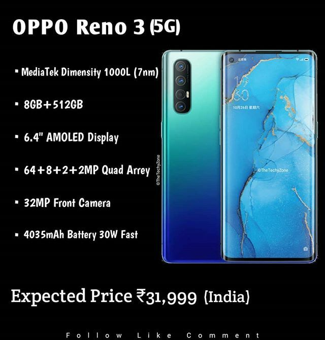 "Oppo Reno 3 Launching Soon  Specs MediaTek Dimensity 1000L (5G) 8GB+512GB 6.4"" AMOLED Display Quad Camera Setup Price ₹31,999 . . Follow And Support Us @TheTechyZone Use Tag :- #AskTTZ . . #opporeno3 #opporeno2 #opporeno2z #opporeno10xzoom #opporeno1… https://ift.tt/39istKr pic.twitter.com/H404AqT5aX"