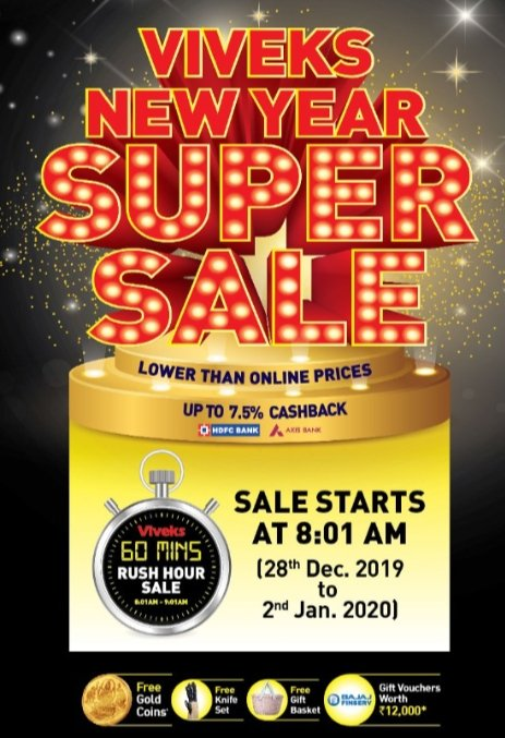 A sale that no one can miss and its the right time to buy your favourite products at crazy prices!!   @viveksindia   #viveks  #nammaviveks #viveksrushhoursale #viveksnewsupersalepic.twitter.com/7mun5KoPxk