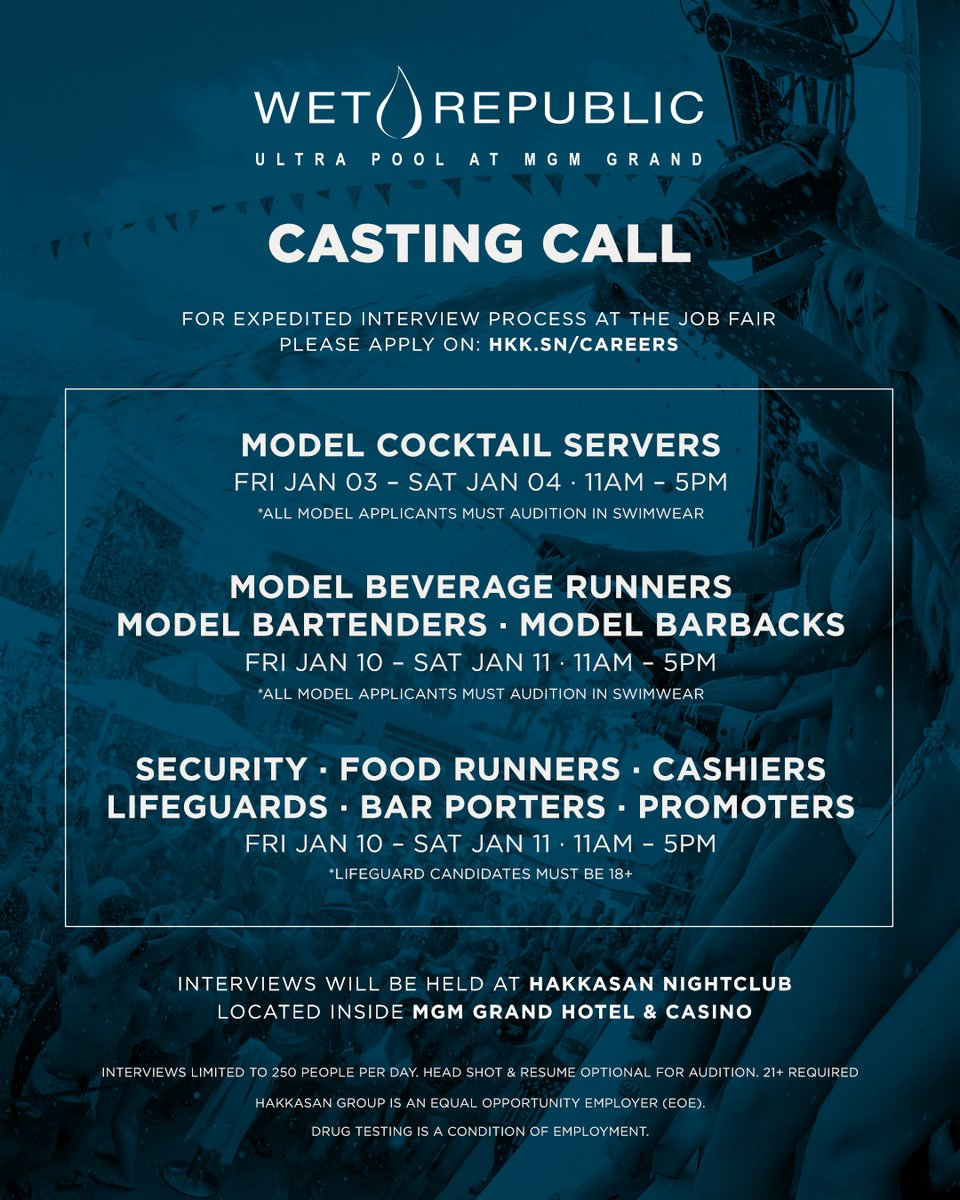 Open Casting Call for the 2020 Pool Season starts in one week.  More info please visit: hkk.sn/careers