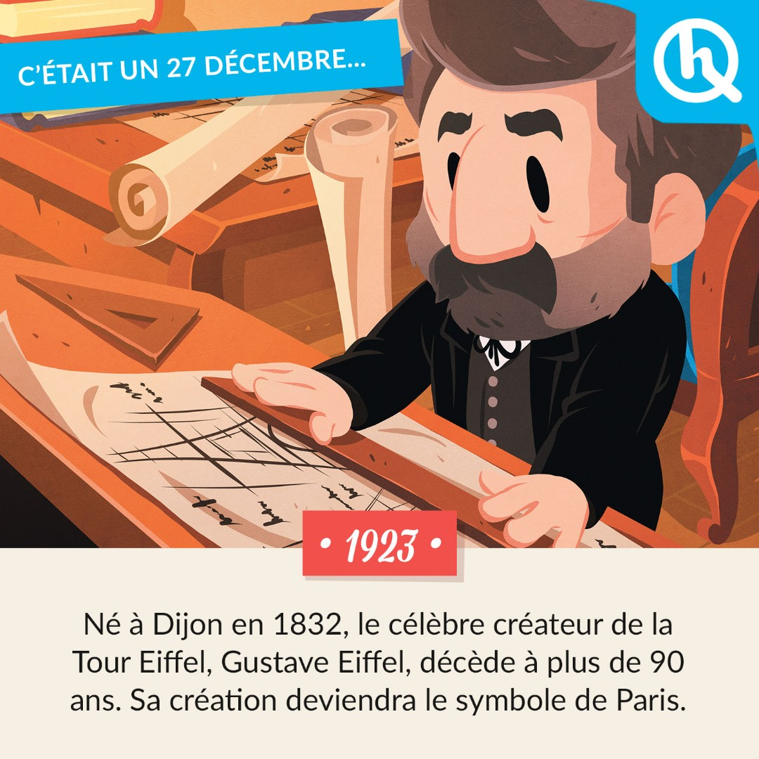 ⭐️C'était un 27 décembre… Il partira apaisé en sachant que son chef-d'œuvre de l'Exposition universelle de 1889 ne sera pas démantelé 🇫🇷    #GustaveEiffel #TourEiffel #Ingénieur #Illustration #QuelleHistoire