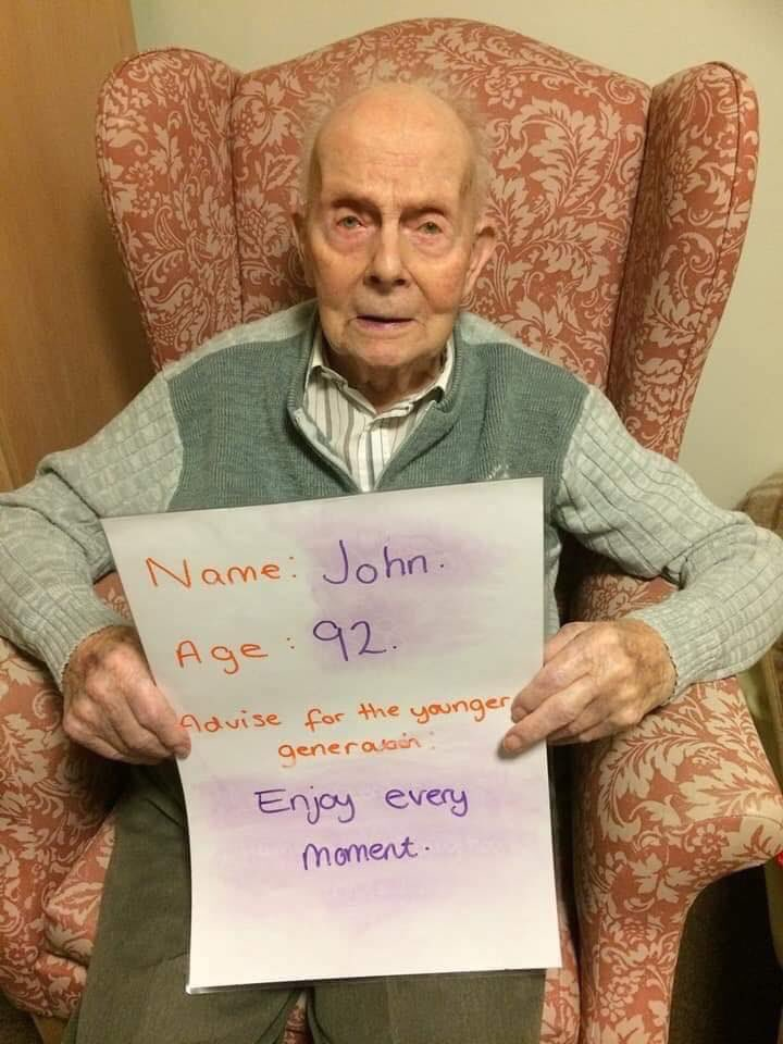 Elderly people in care homes advice to the younger generation ❤️