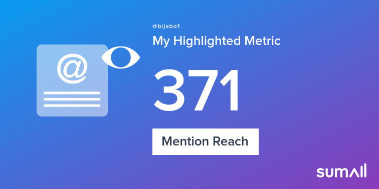 My week on Twitter 🎉: 5 Mentions, 371 Mention Reach, 7 Likes, 2 Replies. See yours with