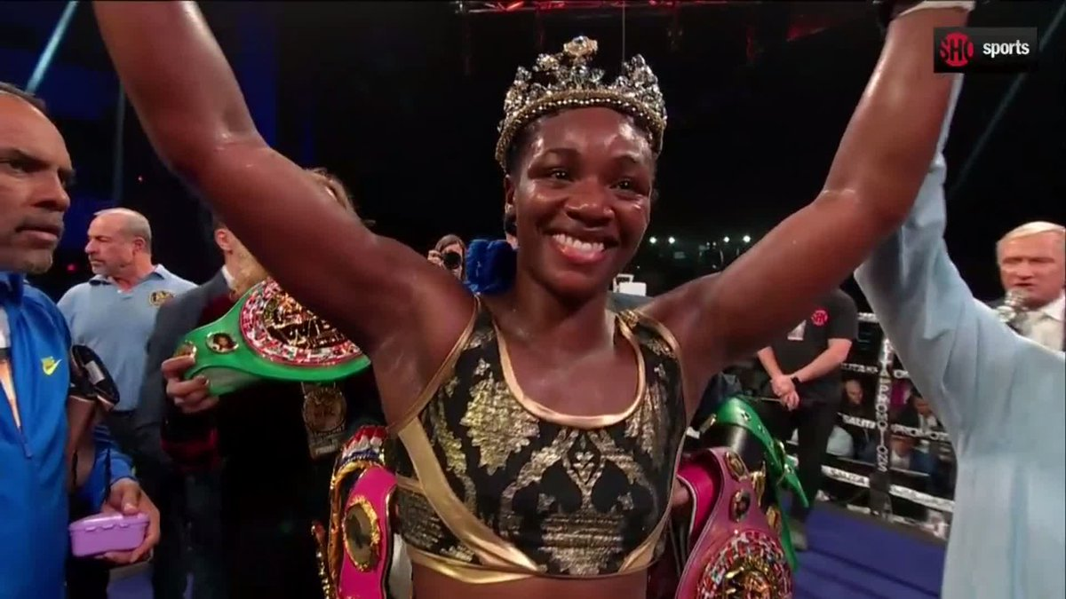 History made 📚@claressashields becomes the fastest boxer, male or female, to win world titles in 3 weight classes in just 10 fights. #ShieldsHabazin