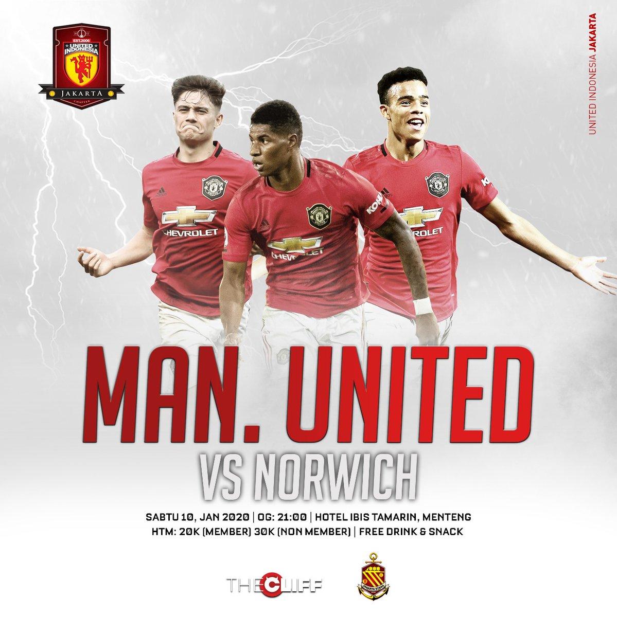 #LiveScreening Manchester United vs Norwich City, At Hotel Ibis Tamarin, Kh. Wahid Hasyim Menteng. Open gate 21.00 Fdc? 20-30 untuk member dan non member, see you there!   #UiJKT https://t.co/7ixTdNo1VR