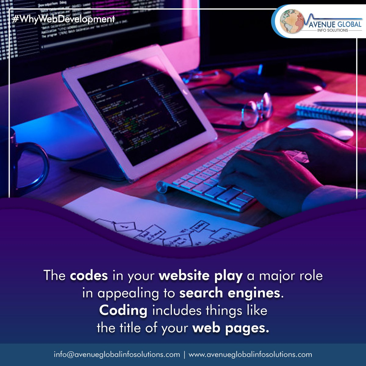 """Codes In Your Websites Play a Major Role in Search Engines!  #whywebdevelopment #webdesigncompany #websitedeveloper #webdesigntips #instatech #instatechno #socialmediamarketing #Avenueglobalinfosolutions #avenueglobal #AGIS #Webdesigning #Digitalmarketing #Websitedevelopmentpic.twitter.com/zNdLJKJf5c"