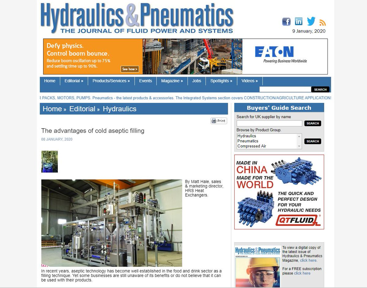 test Twitter Media - In recent years, aseptic technology has become well established in the food and drink sector as a filling technique.  Hydraulics & Pneumatics Magazine @HPMag features the advantages of cold #asepticfilling with HRS technology.  Read more: https://t.co/yJuzSIdTvY #foodprocessing https://t.co/9lBBm52988
