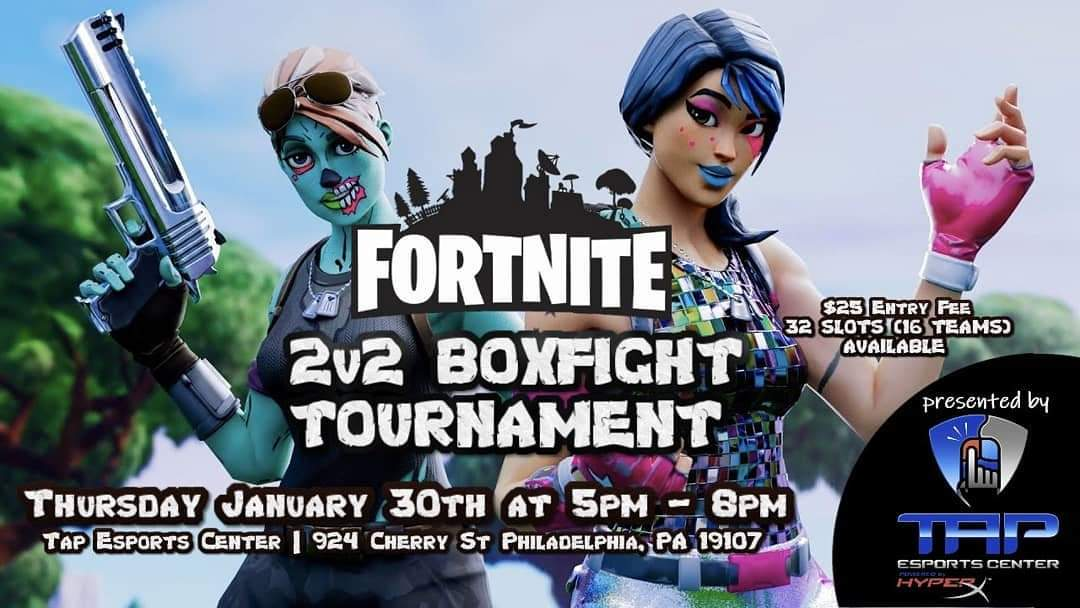 There's a @FortniteGame #Tournament 2vs2 Boxfight! Happening at @TAPESPORTCENTER on Thursday, January 30th at 5pm in #Philly #PA #Chinatown. $15 bracket + $10 venue. PC only.  #fortnite #2v2boxfight #2vs2boxfights #esports #fortnitetournament pic.twitter.com/2LjrY3IYUz