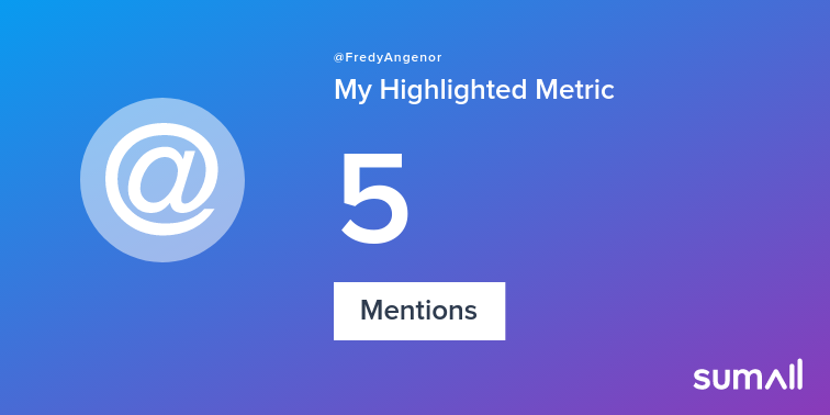 My week on Twitter 🎉: 5 Mentions. See yours with sumall.com/performancetwe…